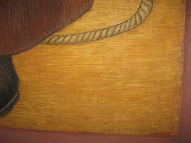 Portrait of Cowboy Detail with Artist's Signature