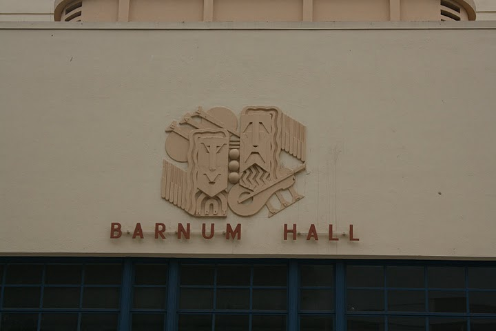 Barnum Hall Theater Facade - Comedy and Tragedy Bas-Reliefs