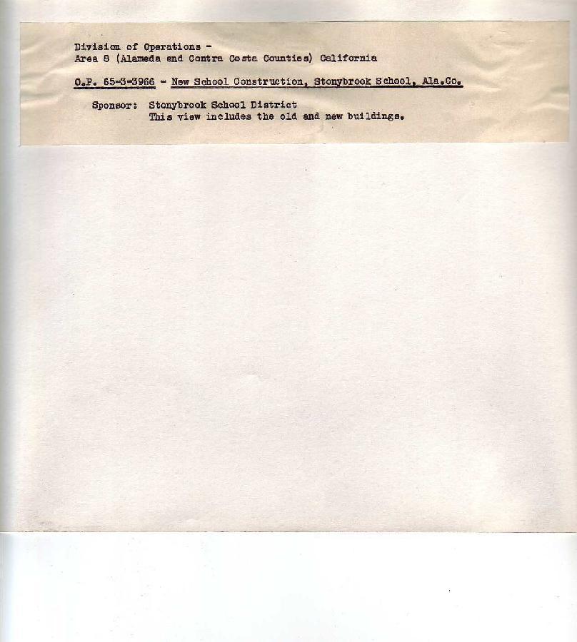 Stonybrook School (back of record card) - Castro Valley CA