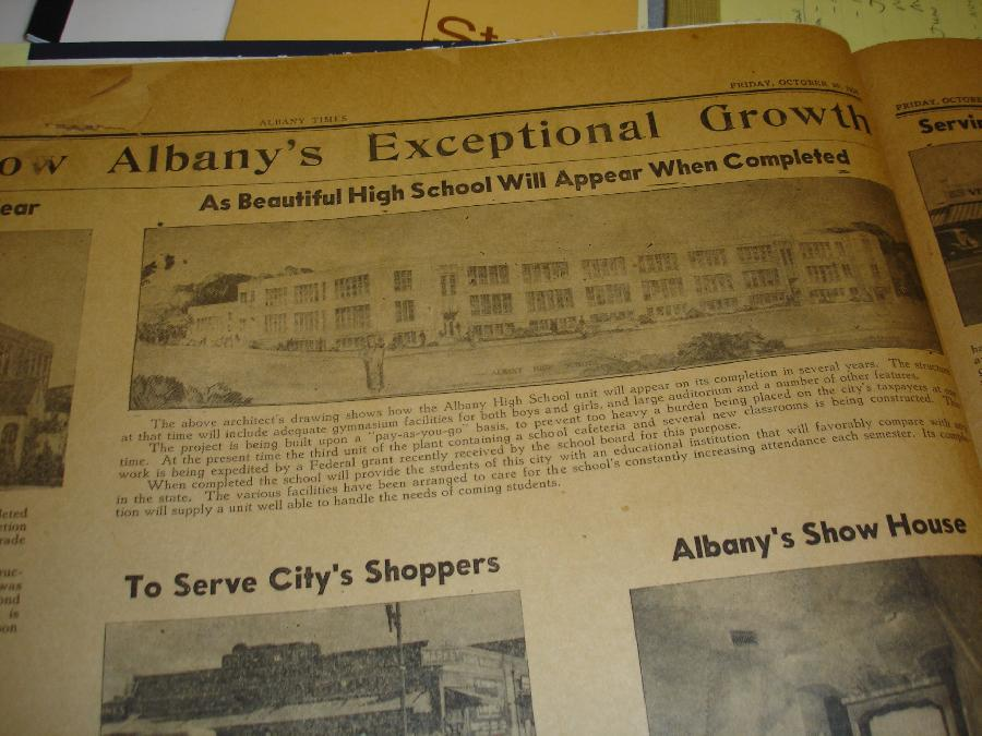 Architect's drawing of Albany High School