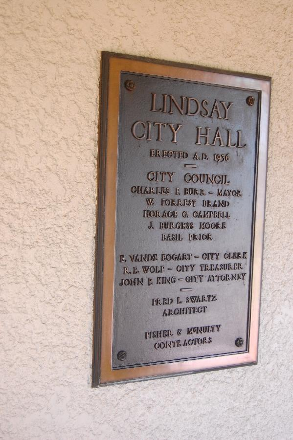 Lindsay City Hall Construction Plaque