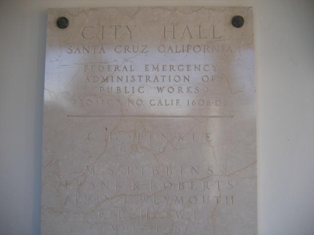 Santa Cruz City Hall PWA Plaque