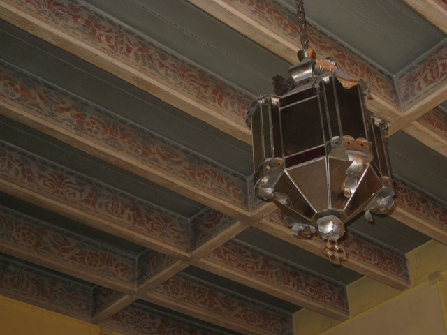 Sunshine School Chandelier and Stenciled Ceiling