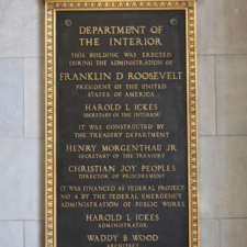 Plaque at entrance, Department of Interior Building - Washington DC