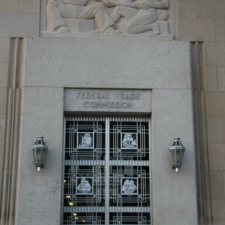 Entrance with bas-relief and aluminum grille,Federal Trade Commission Building - Washington DC