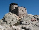 The fire lookout tower at the summit of Harney Peak in the Black Hills of South Dakota.