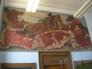 """Purcell Post Office Mural """"The Roundup"""""""