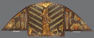 Carved redwood relief by New Deal Artist Sargent Johnson