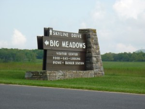 Skyline Drive and Big Meadows Stone Sign