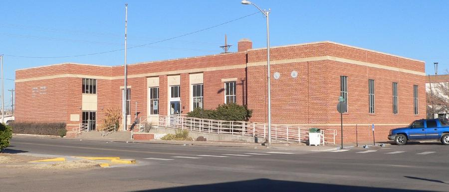 U.S. Post Office, located at 201 W. Spruce Street in Deming, New Mexico; seen from the southeast.