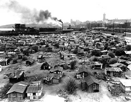 Shantytowns known as Hoovervilles sprang up across the U.S.