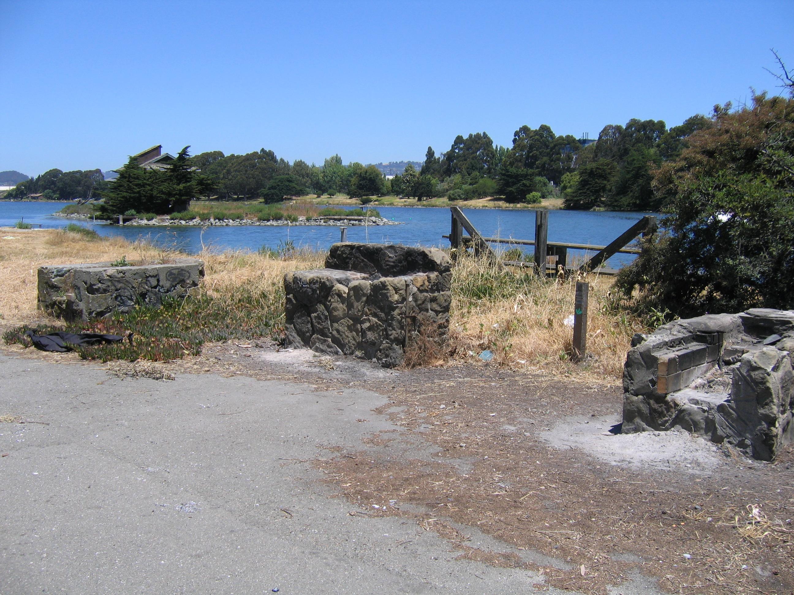 Crumbling WPA rockwork at Aquatic Park, Berkeley, California
