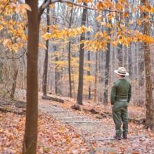 Ranger and trail in Autumn,Rock Creek Park - Washington DC