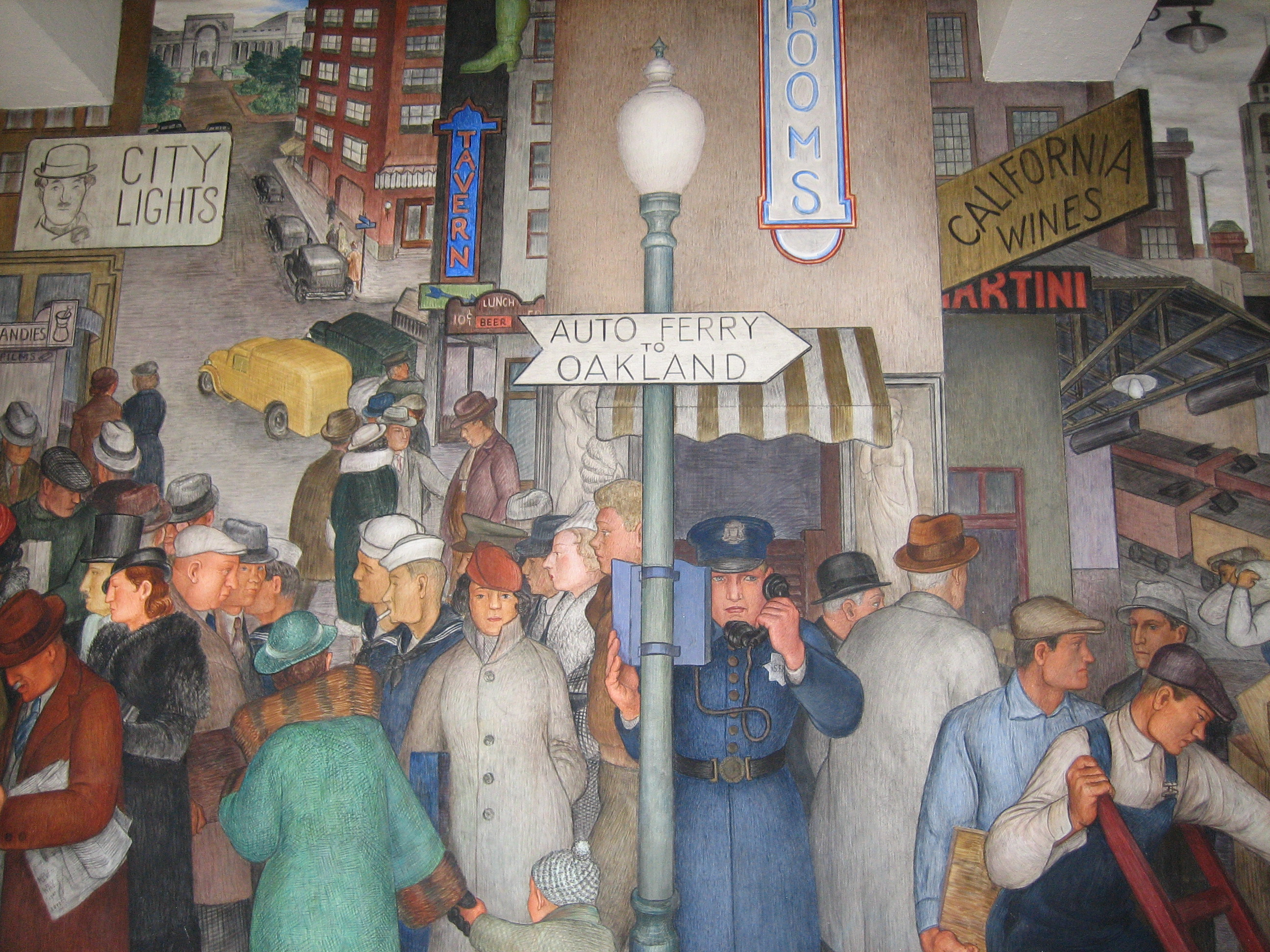 Coit tower mural city life by victor arnautoff living for Coit tower mural