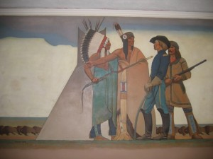 """Themes of the Bureau of Indian Affairs: Indian and Soldier"" (Panel 1)"