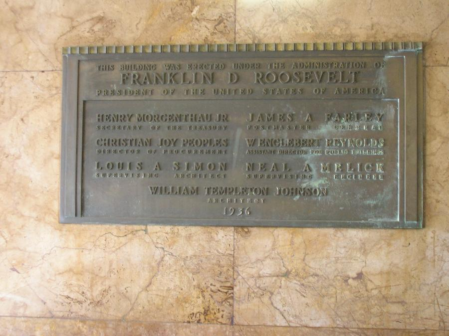 plaque, San Diego Post Office, downtown