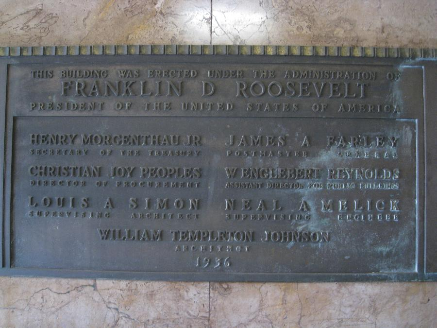 San Diego Post Office, plaque