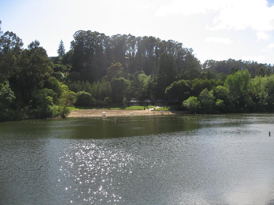 Lake Anza with View of Beach and Buildings