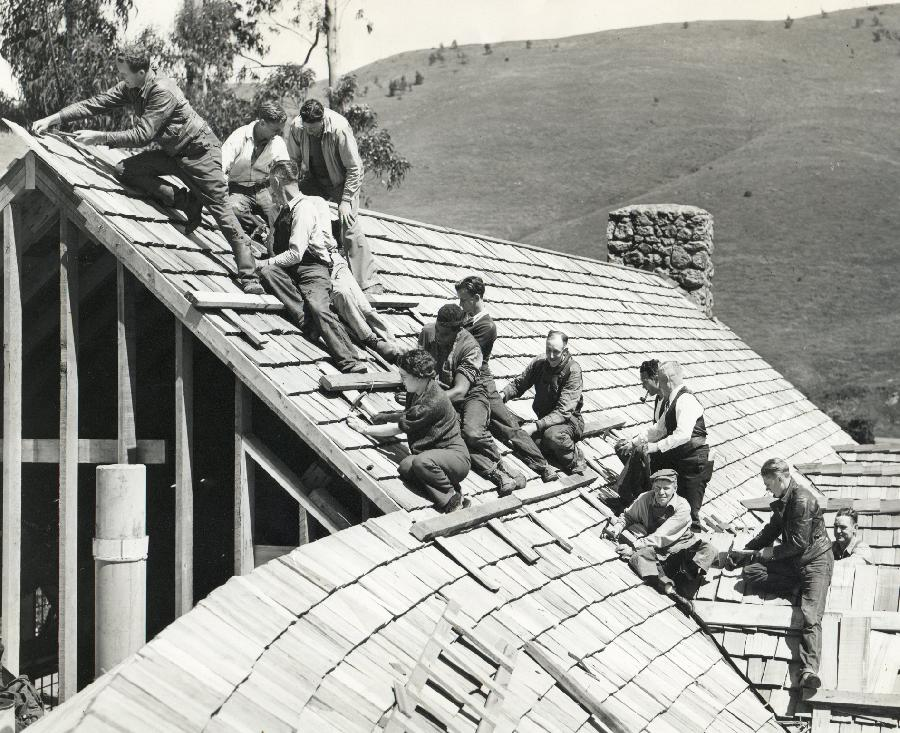 WPA Workers Roofing the Brazil Room