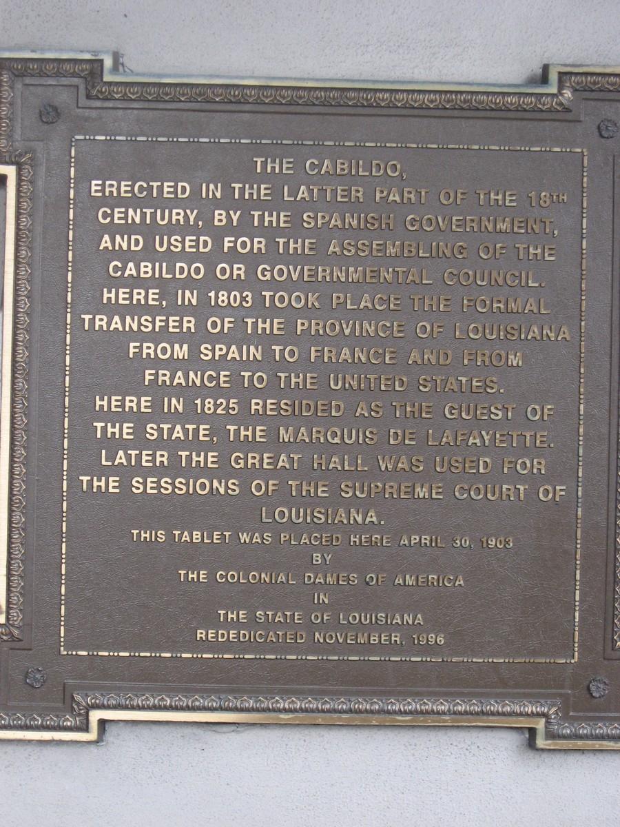 Louisiana State Museum Cabildo History Plaque