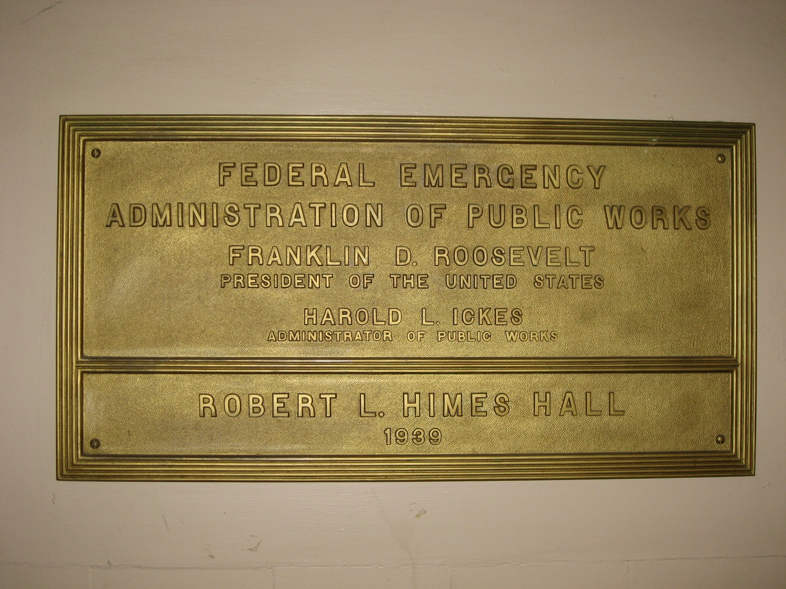 LSU Himes Hall PWA Plaque