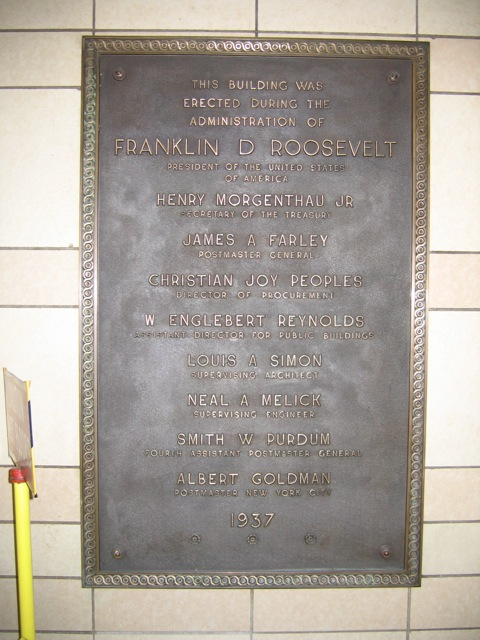 Canal Street Post Office Plaque