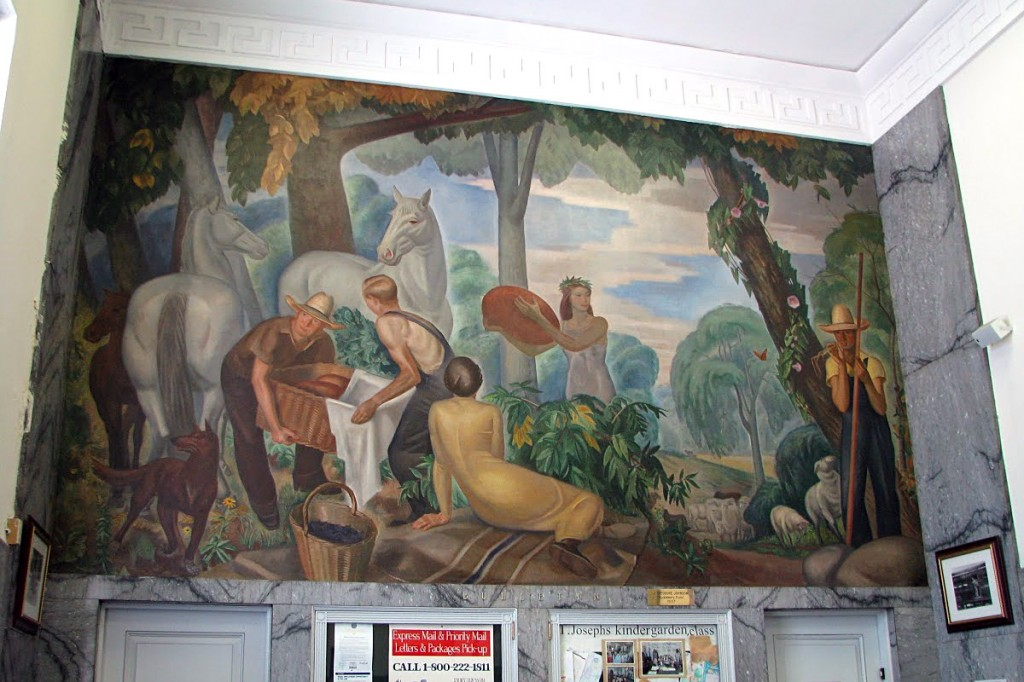 Post office mural garden city ny living new deal for City mural projects