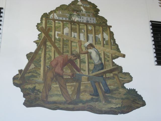 Victor White mural depicting carpenters framing a house