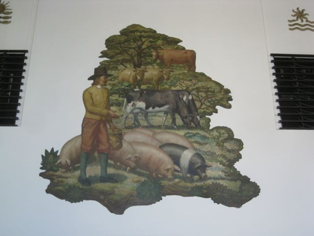Victor White mural depicting a farmer and livestock