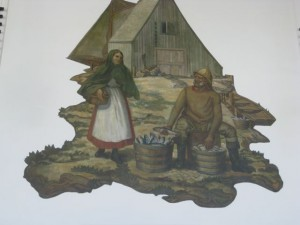 Victor White mural depicting a fisherman and his wife