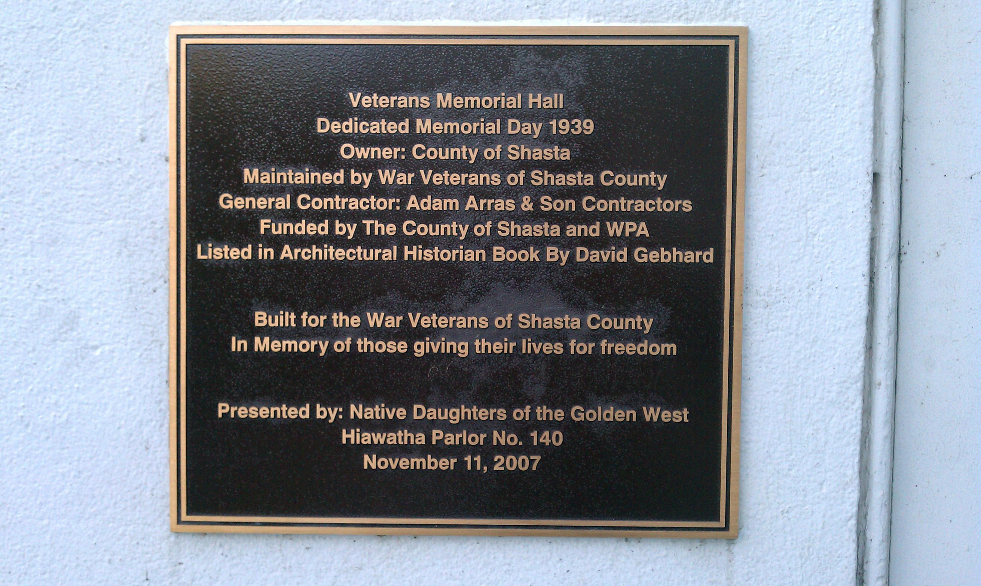 Shasta Veterans Memorial Building Commemoration Plaque