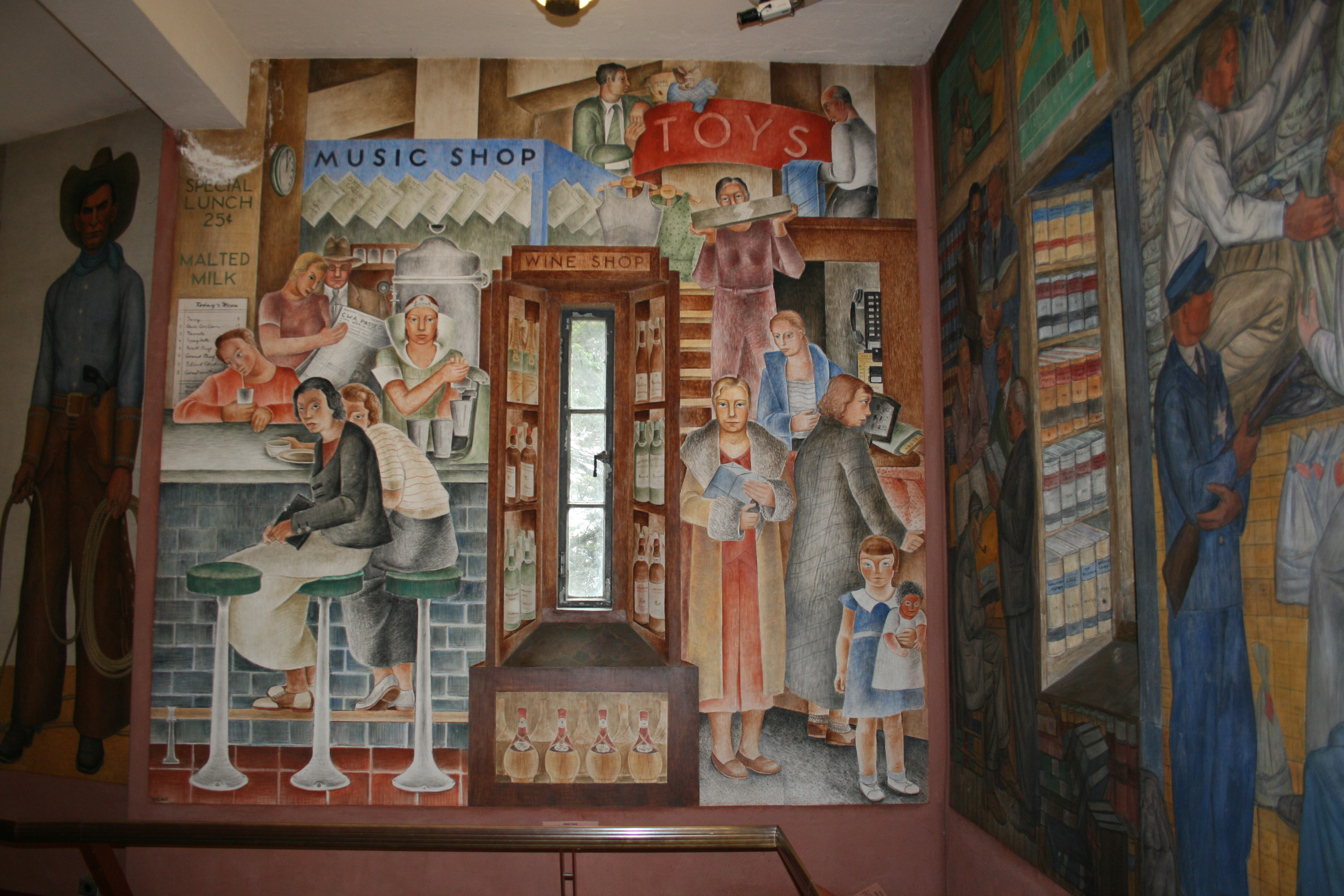 Coit tower vidar mural san francisco ca living new deal for Coit tower mural artists