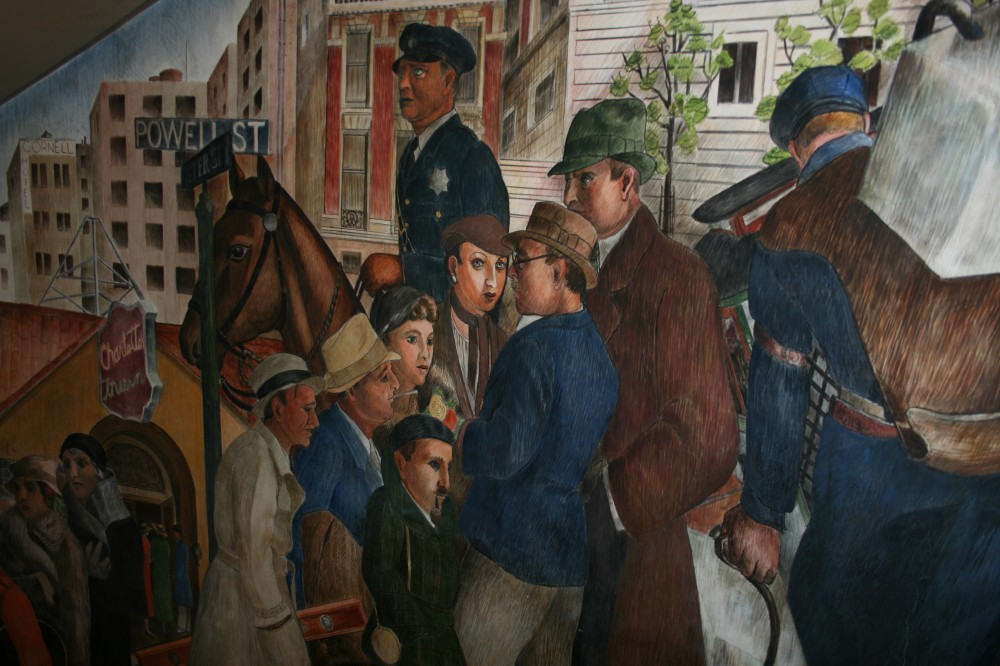 Coit tower labaudt mural san francisco ca living new deal for Coit tower mural artists