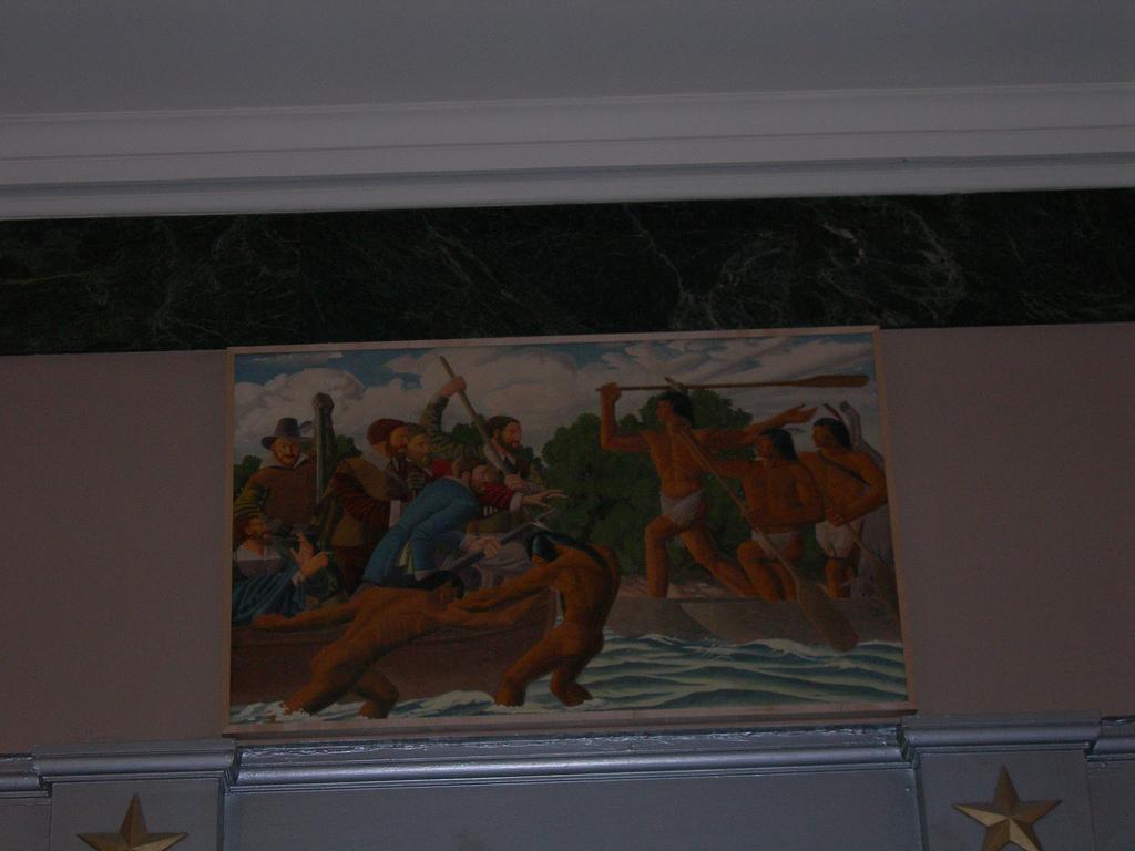 """Captain John Smith Meets the Massawomeck Indians"""