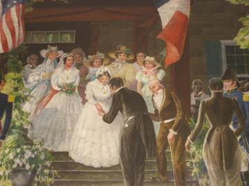 """General Lafayette is Welcomed at Friendship Hill By Mr. and Mrs. Albert Gallatin on May 27, 1825"""