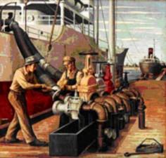"""Houston Ship Canal--Loading Oil"""