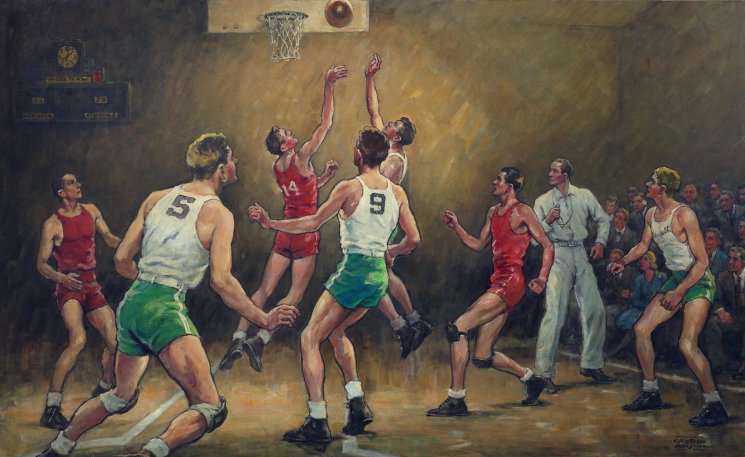 Norwalk city hall avison murals norwalk ct living new for Basketball mural