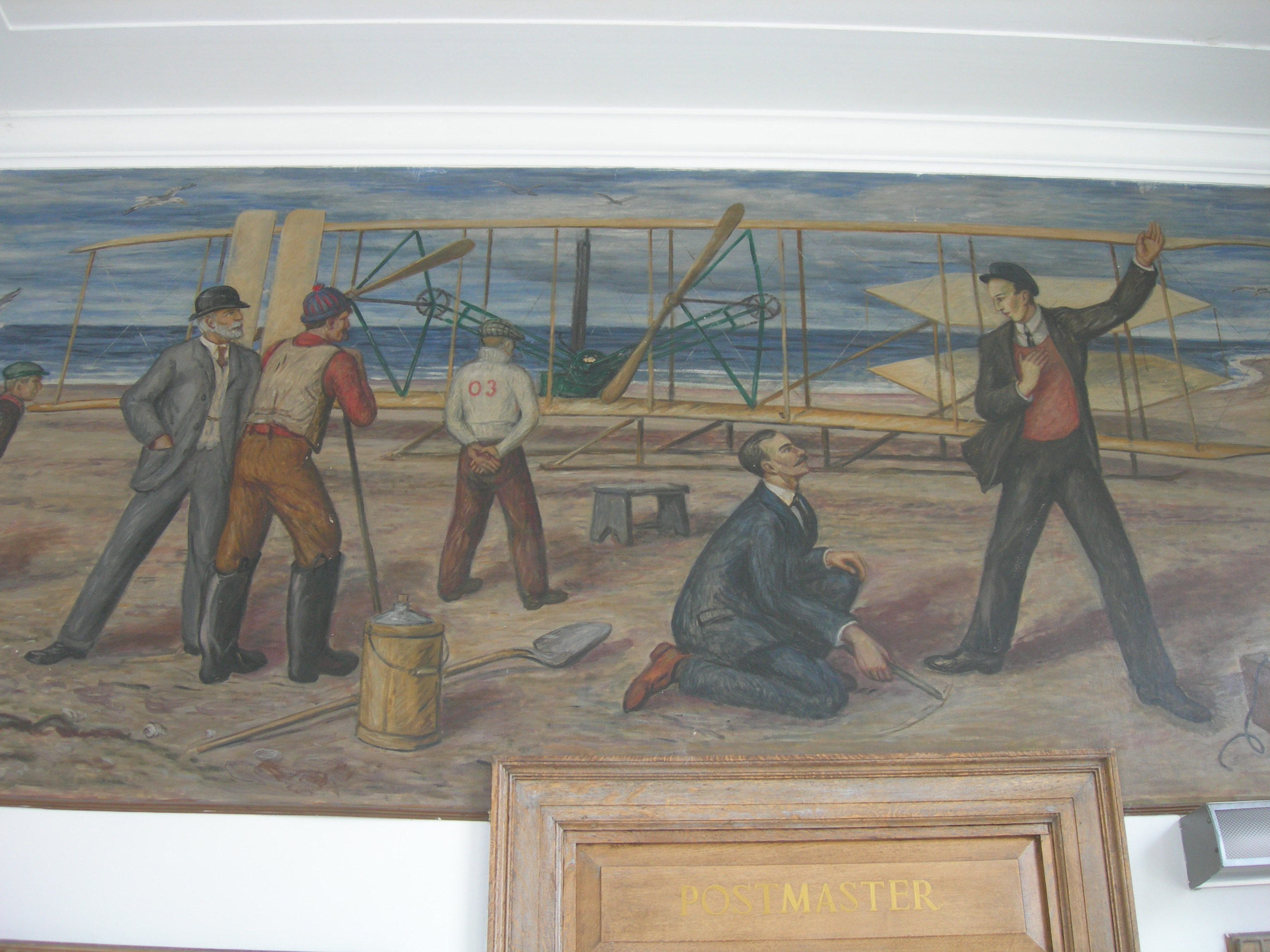 First Wright Brothers Flight within post office mural - williamston nc - living new deal