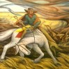 """""""Ranchers of the Panhandle Fighting Prairie Fire with Skinned Steer"""""""