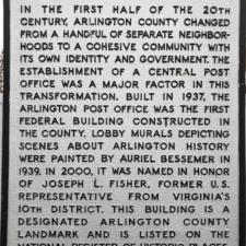 Plaque, Joseph Fisher Post Office - Arlington VA