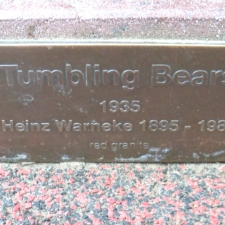 Plaque on base of Tumbling Bears sculpture, National Zoo - Washington DC