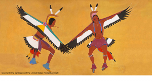 Two Eagle Dancers, 1936 by Stephen Mopope a Kiowa Indian, is one of 16 WPA murals commissioned for the Anadarko, Oklahoma Post Office.