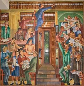"Mural ""Library"" by Bernard Zakheim"
