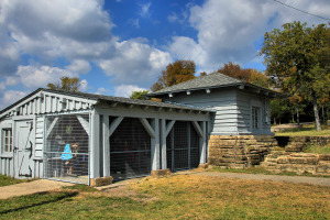 The CCC built waterfront storage building is now used as a boat house.