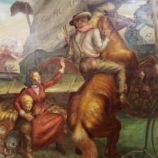 "Detail of John Steuart Curry, ""The Okahoma Land Rush,"" Dept of Interior - Washington DC"