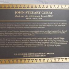 Plaque at Curry murals, Dept of Interior - Washington DC