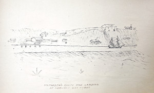 An 1880 sketch of Newport Bay preserved by the WPA.