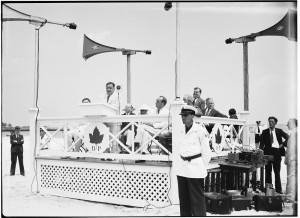 Mayor Fiorello LaGuardia and Parks Commissioner Robert Moses preside at the beach's grand opening, July 25, 1936