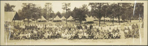 "CCC Company 893 in Pineland, Texas, shows African American members of this ""mixed"" camp to the far right of the photograph. 1933. Credit: Connie Ford McCann, University of North Texas Libraries, Portal to Texas History."