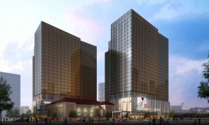 Artist rendering of condominium towers planned for Stamford, Conn.